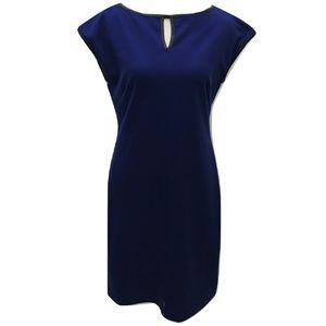 Issac Mizrahi Size 8 Dress Blue Stretch Knit Solid